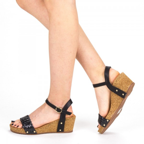 Sandale Dama cu Platforma FD50 Black Mei