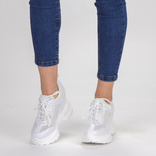 Pantofi Sport Dama cu Platforma SJN266 White Mei