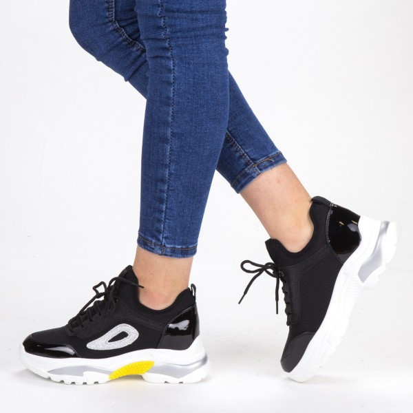 Pantofi Sport Dama cu Platforma SZ198 Black-White Mei
