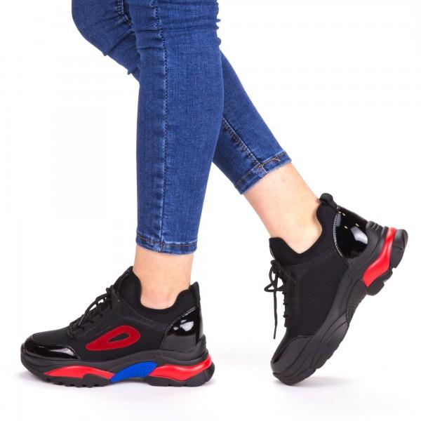 Pantofi Sport Dama cu Platforma SZ198 Black-Red Mei