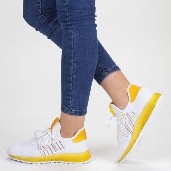 Pantofi Sport Dama YKQ63 White-Yellow Mei