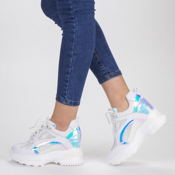 Pantofi Sport Dama cu Platforma SJN268 White-Silver Mei