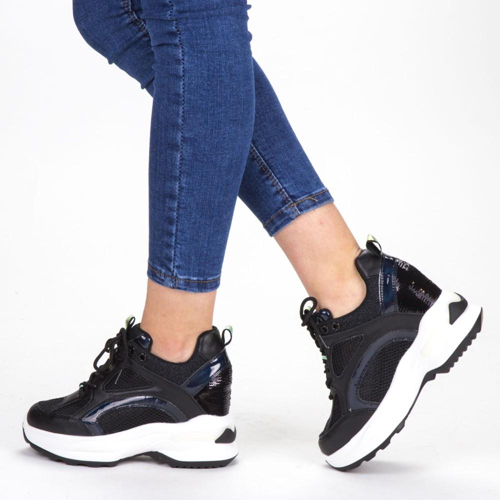 Pantofi Sport Dama cu Platforma SJN268 All Black Mei