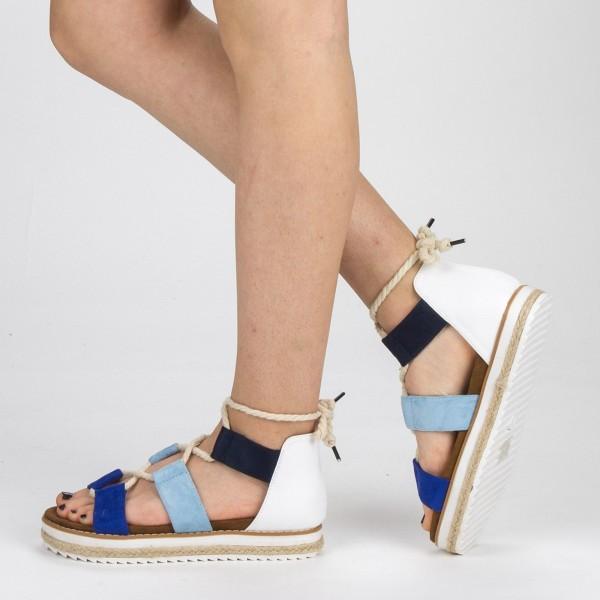 Sandale Dama cu Toc si Platforma MR2 Blue Mei