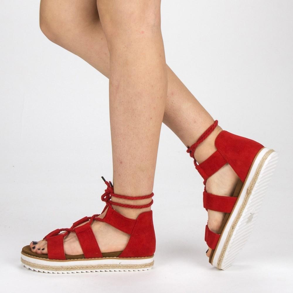 Sandale Dama cu Toc si Platforma MR2 Red Mei
