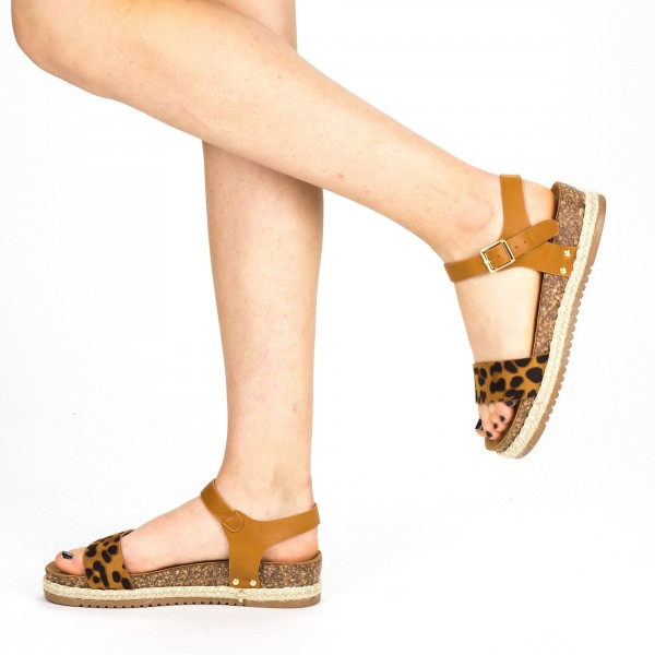 Sandale Dama cu Toc si Platforma FD38 Leopard Mei