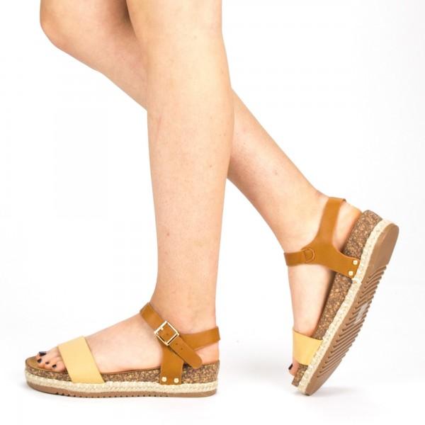 Sandale Dama cu Toc si Platforma FD38 Beige Mei