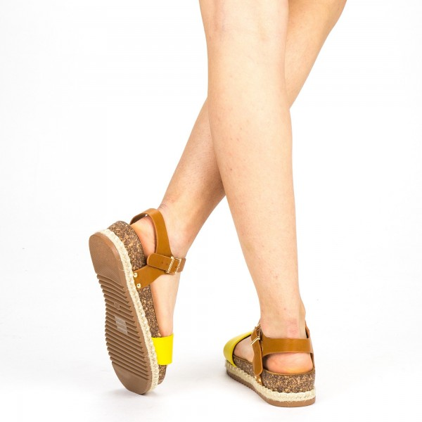 Sandale Dama cu Toc si Platforma FD38 Yellow Mei
