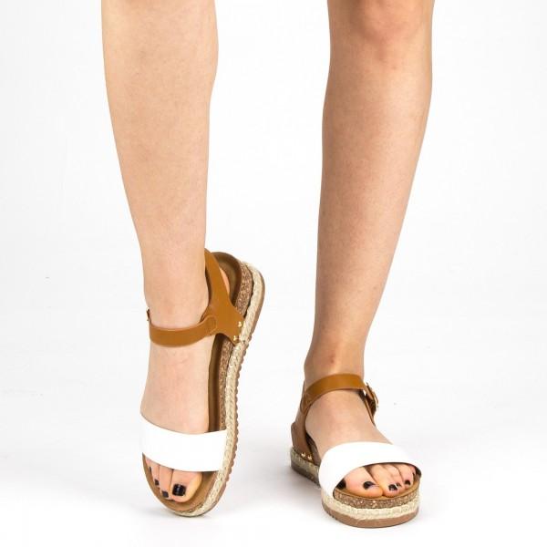 Sandale Dama cu Toc si Platforma FD38 White Mei