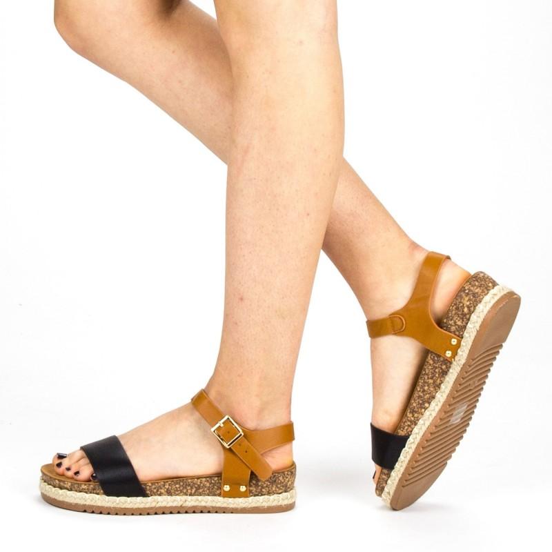 Sandale Dama cu Toc si Platforma FD38 Black Mei