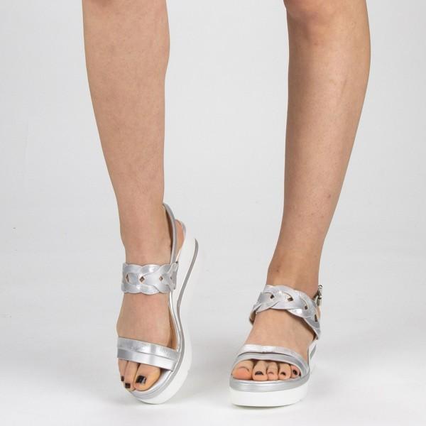 Sandale Dama cu Toc si Platforma LM271 Silver Mei