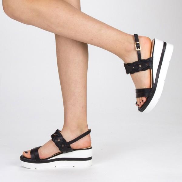 Sandale Dama cu Toc si Platforma LM271 Black Mei
