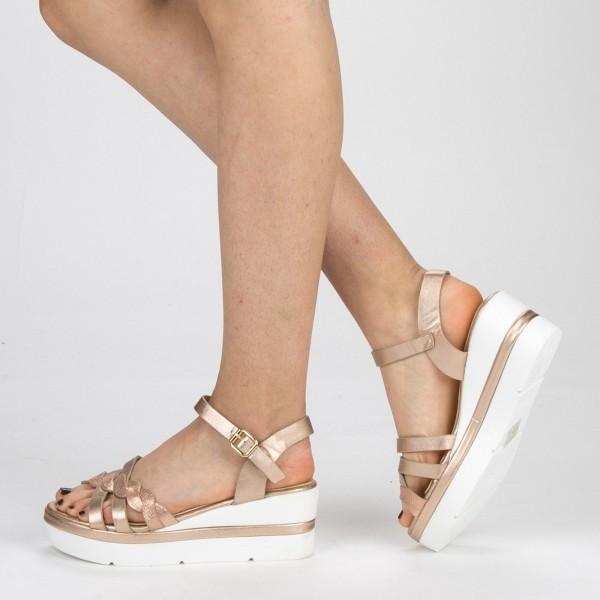 Sandale Dama cu Toc si Platforma LM272 Champagne Mei