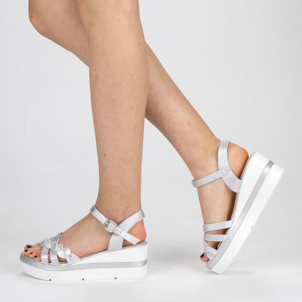 Sandale Dama cu Toc si Platforma LM272 Silver Mei