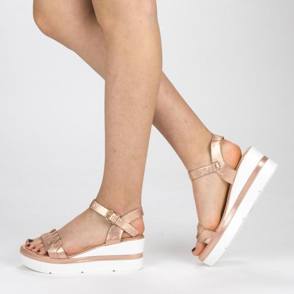 Sandale Dama cu Toc si Platforma LM270 Champagne Mei