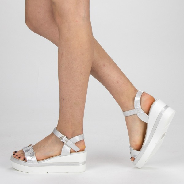 Sandale Dama cu Toc si Platforma LM270 Silver Mei