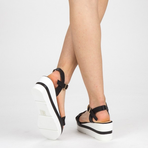 Sandale Dama cu Toc si Platforma LM270 Black Mei