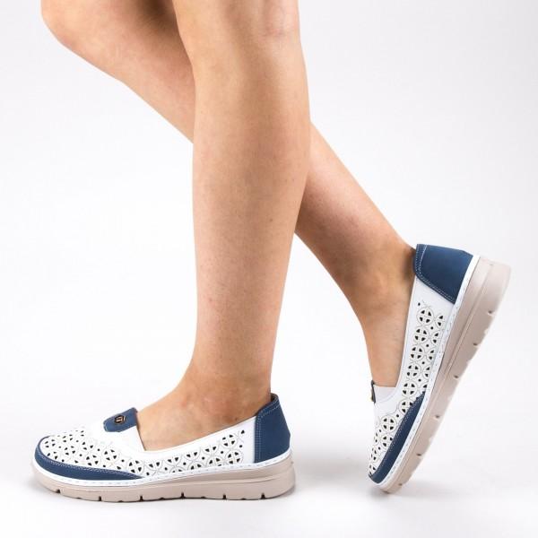 Pantofi Casual Dama S122 White-Blue Ggm