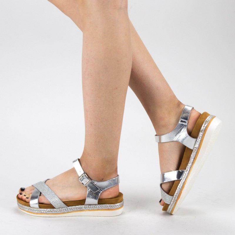 Sandale Dama cu Platforma WT66 Silver Mei