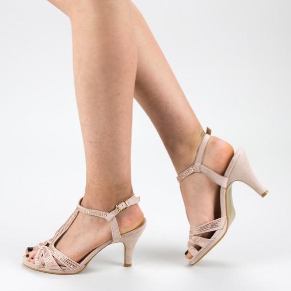 Sandale Dama cu Toc WT182 Beige Mei