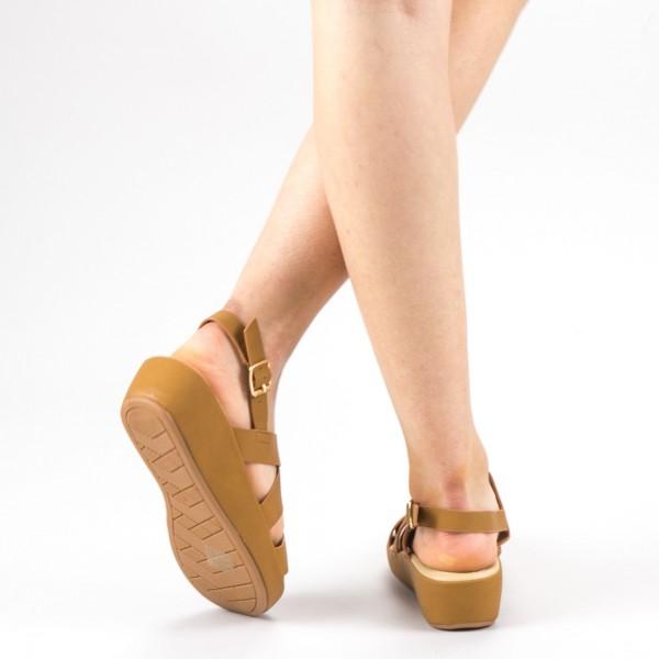 Sandale Dama cu Platforma GH116 Brown Mei