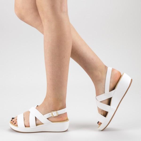 Sandale Dama cu Platforma GH116 White Mei