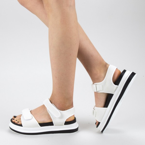 Sandale Dama cu Platforma GH112 White Mei