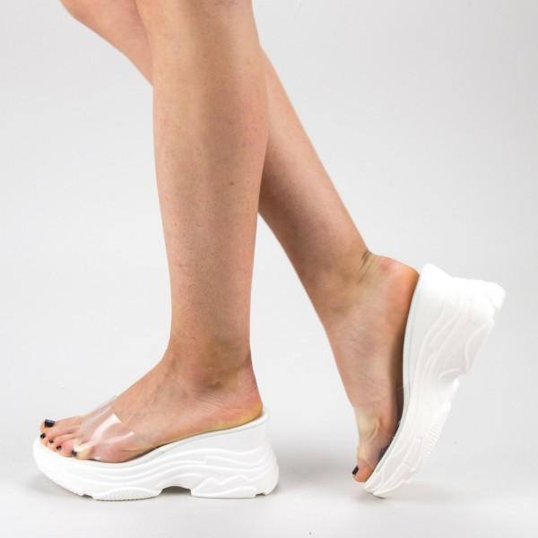 Papuci Dama cu Platforma GH111 White Mei
