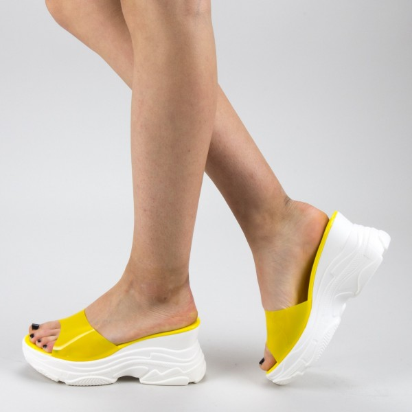Papuci Dama cu Platforma GH111 Yellow Mei