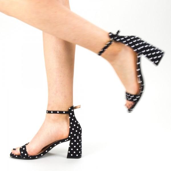 Sandale Dama cu Toc WH15 Black-White Mei