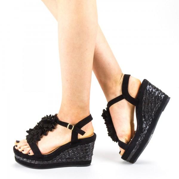 Sandale Dama cu Toc si Platforma WH14 Black Mei
