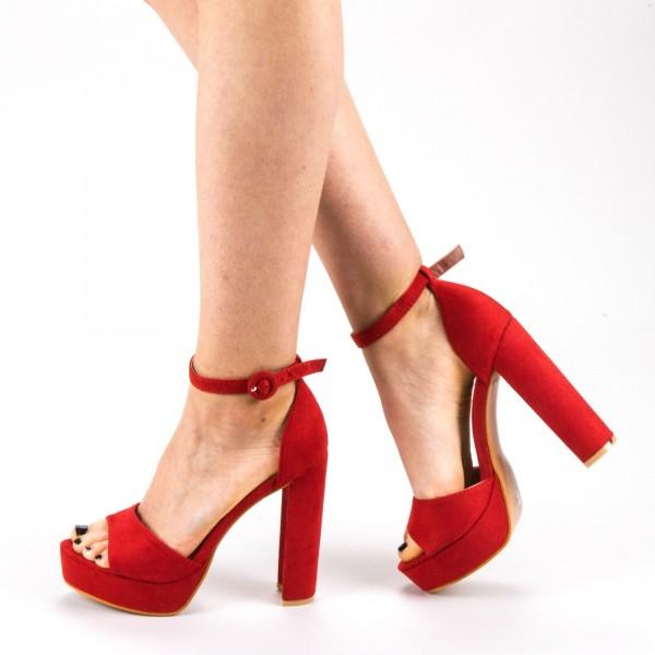 Sandale Dama cu Toc si Platforma XD205 Red Mei