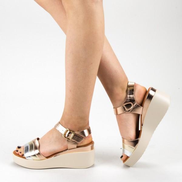 Sandale Dama cu Toc si Platforma QZL257 Champagne Mei