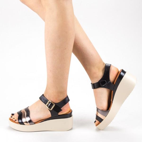 Sandale Dama cu Toc si Platforma QZL257 Black Mei