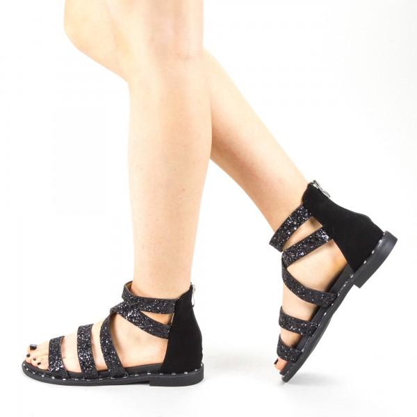 Sandale Dama cu Toc QZL256 Black Mei