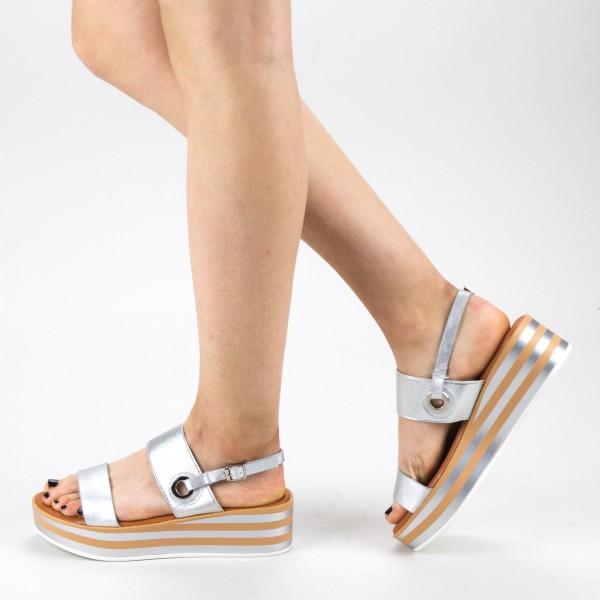 Sandale Dama cu Toc si Platforma QZL253 Silver Mei