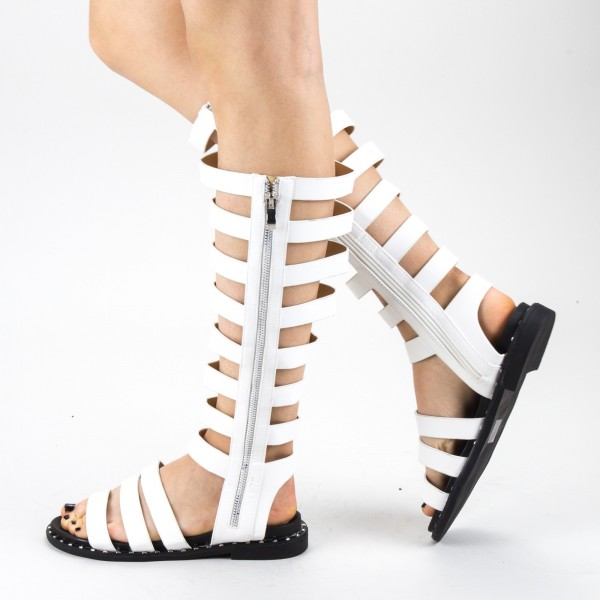 Sandale Dama cu Toc QZL237 White Mei