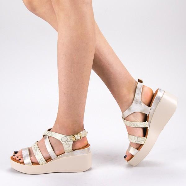 Sandale Dama cu Toc si Platforma QZL227 Gold Mei