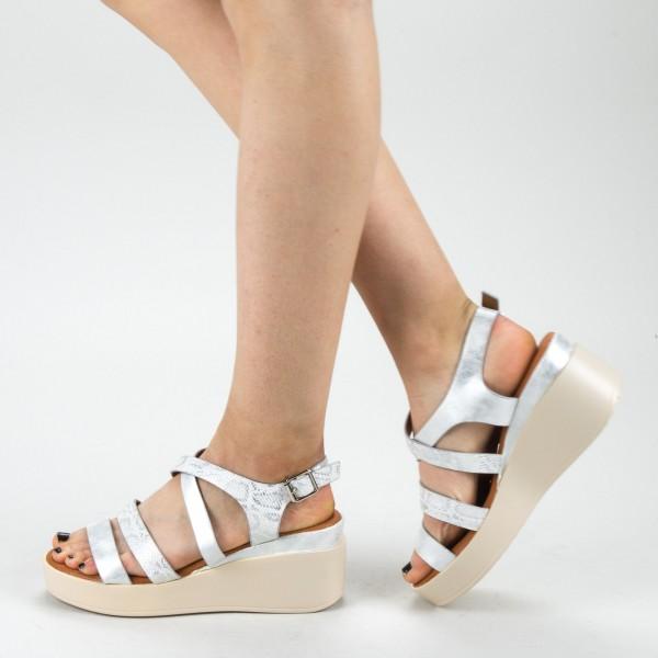 Sandale Dama cu Toc si Platforma QZL227 Silver Mei
