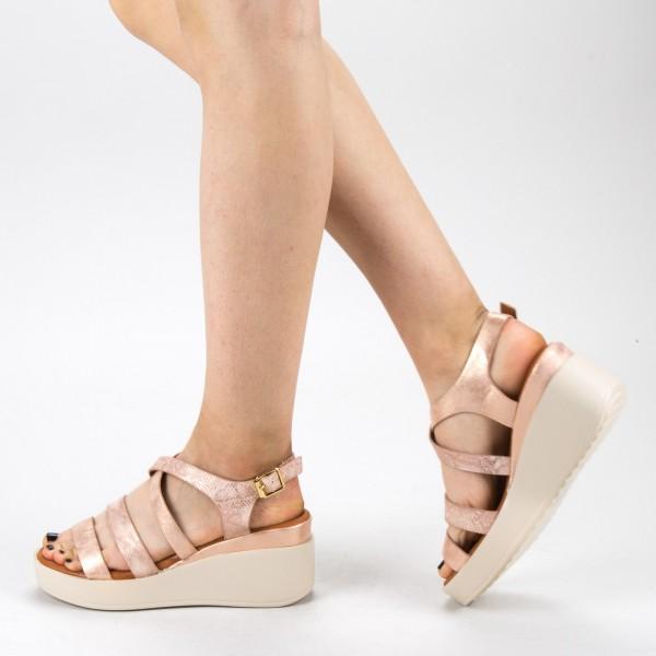 Sandale Dama cu Toc si Platforma QZL227 Champagne Mei