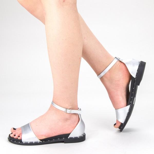 Sandale Dama cu Toc QZL233 Silver Mei