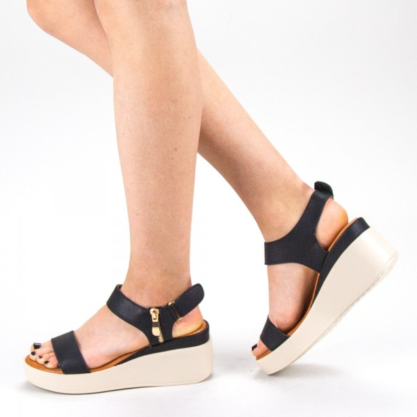 Sandale Dama cu Toc si Platforma QZL226 Black Mei