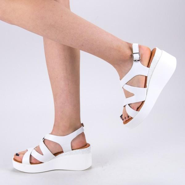 Sandale Dama cu Toc si Platforma QZL225 White Mei