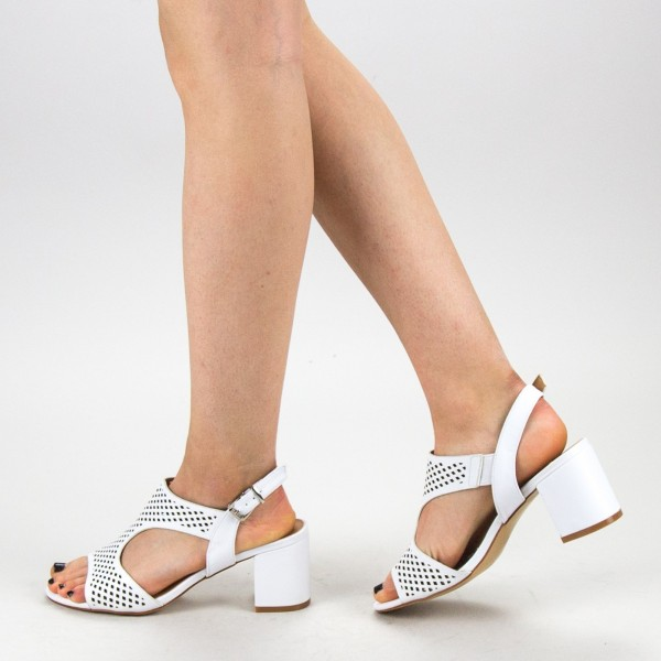Sandale Dama cu Toc CS61 White Mei