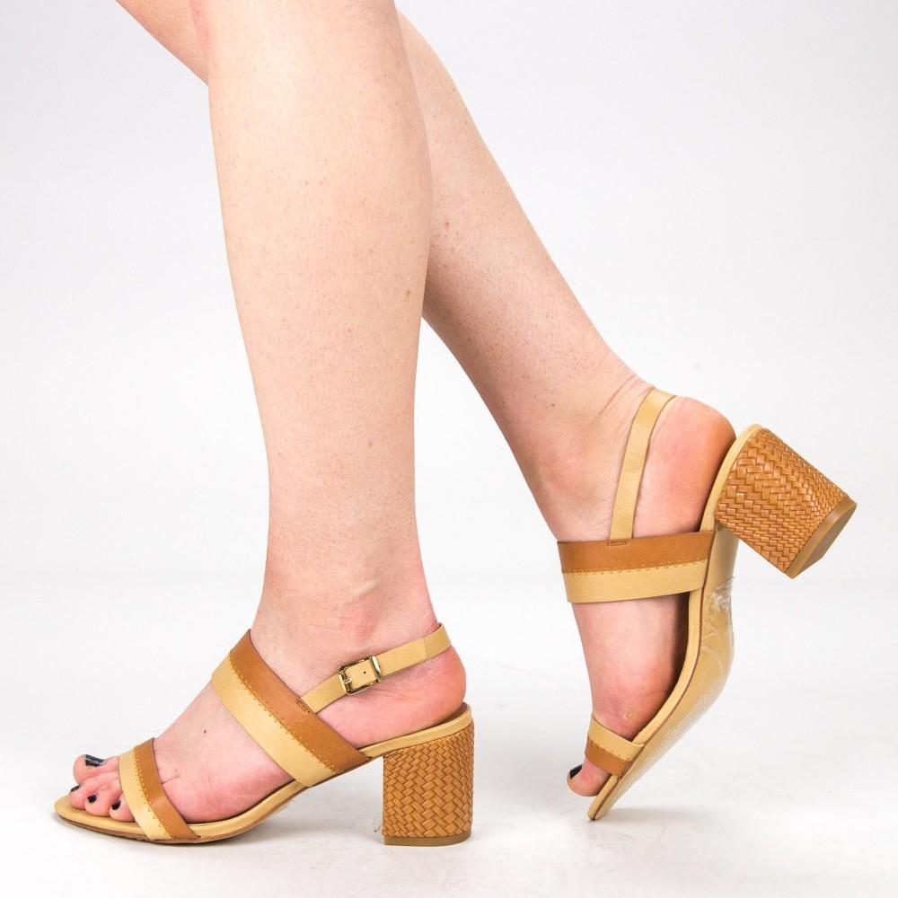 Sandale Dama cu Toc CS60 Camel Mei