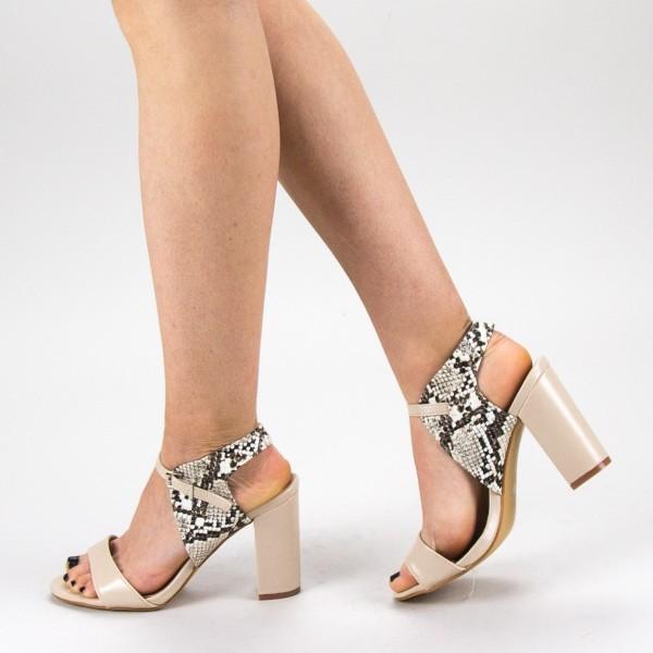 Sandale Dama cu Toc CS58 Beige Mei