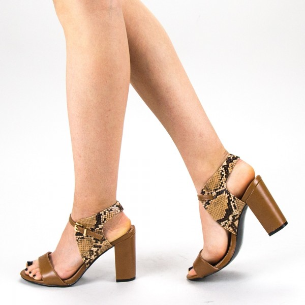 Sandale Dama cu Toc CS58 Camel Mei