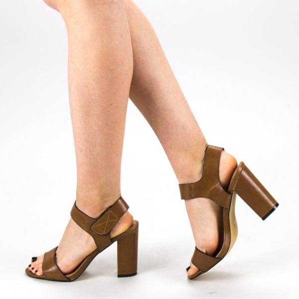 Sandale Dama cu Toc CS56 Camel Mei