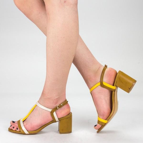 Sandale Dama cu Toc CS55 Camel Mei