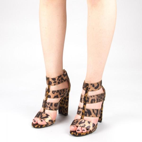 Sandale Dama cu Toc XKK170 Leopard Mei